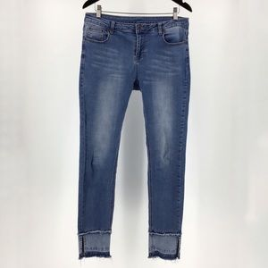 Orange FV Denim Pants with Ankle Slit, Medium